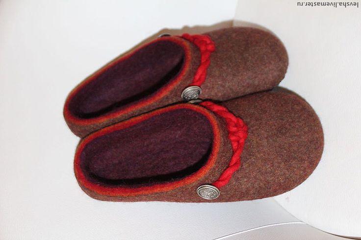 """Купить Тапочки валяные мужские """"Баварские красные"""" - коричневый, фиолетовый, тапочки валяные, валяные тапочки"""