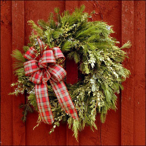 Christmas wreaths ideas fresh christmas wreaths evergreens ivy ribbon bow