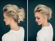 Messy curly up do bun wedding hair