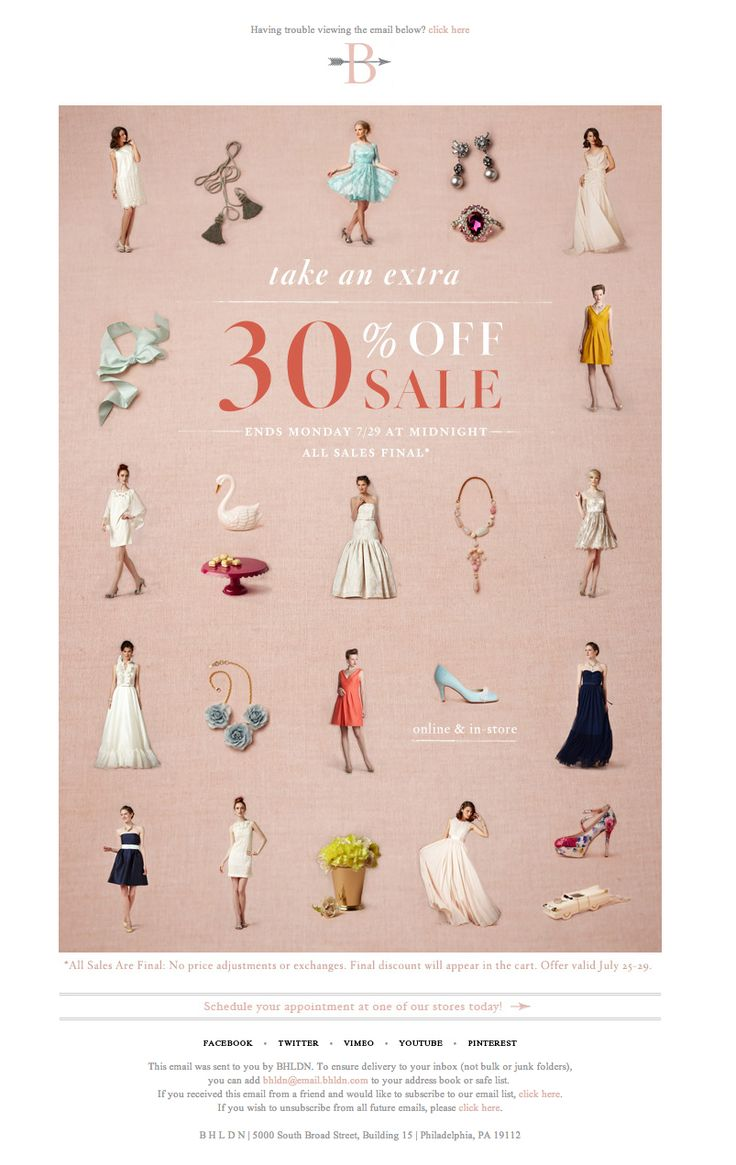 #newsletter #sale Bhldn 07.2013 Subject:  Click for 30% off sale!