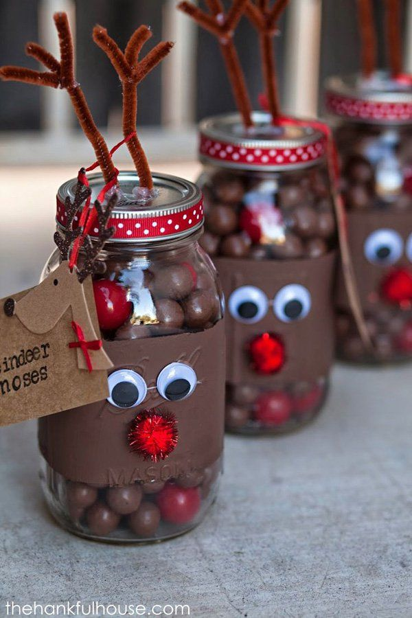 Reindeer bottles. Make your chocolate treats this Christmas stand out by decorating their bottles in reindeer fashion complete with googly eyes, antlers and a red nose.