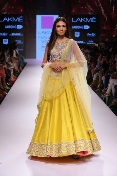 BRIGHT YELLOW LENGHA WITH NUDE BLOUSE
