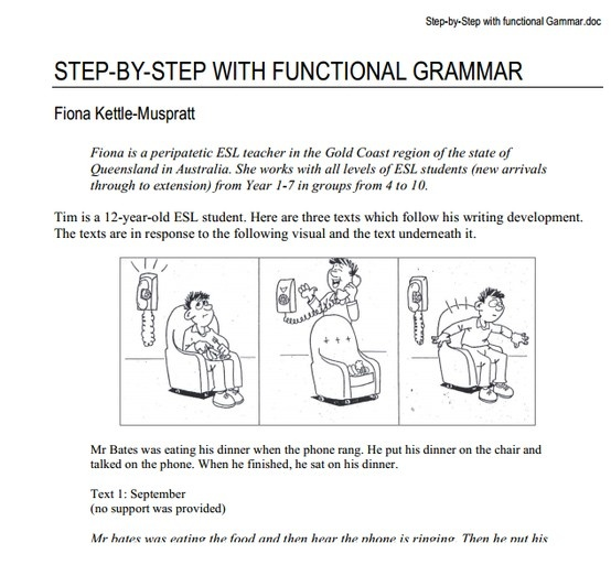 This online document walks teachers through the process of analysing and constructing a text using functional grammar. Focusing on recognising the 'participant, process and circumstance' within a text, this document presents examples and ideas to assist students with improving their writing through the use of  functional grammar.