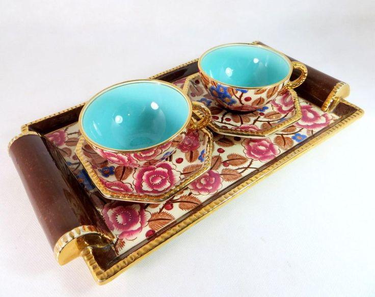 Art Deco Boch Freres La Louviere Belgium Tea Set Tray Cups & Saucers 1920s - ebay £19.95
