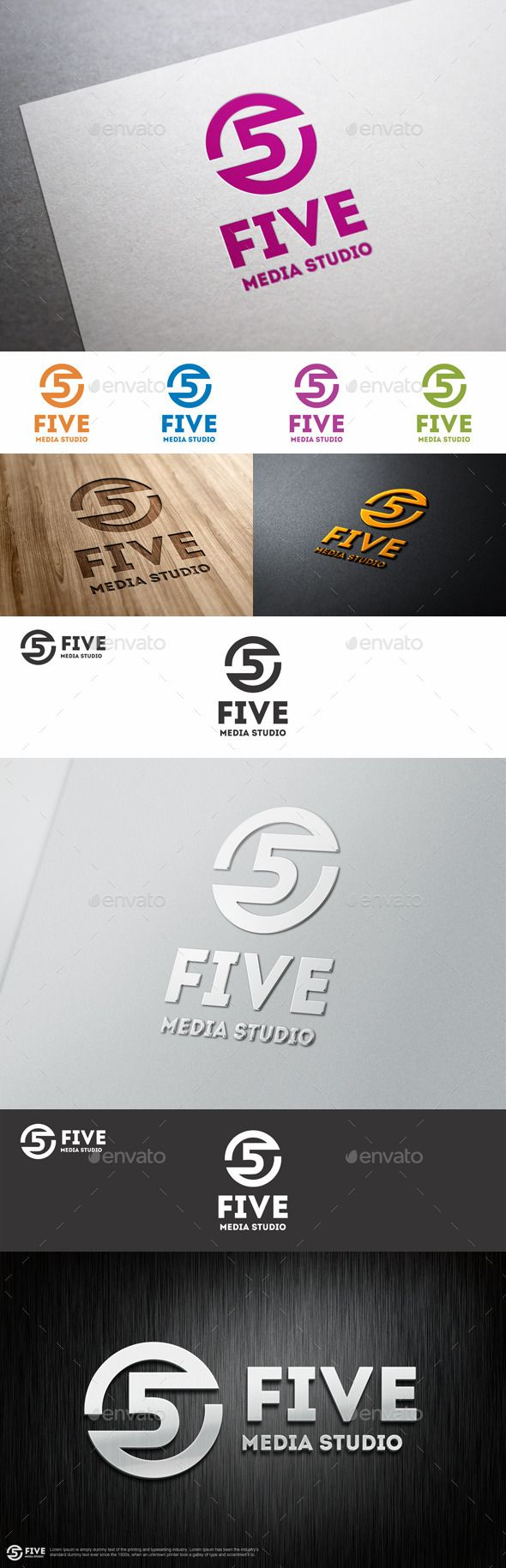 Five Media Studio Logo Template - Five Logo Number – An excellent logo template suitable for media, networking, technology and communications businesses.  Is a logo that can be used by Multi media developers, design agencies, web designers, tv channels, graphic designers, agencies, sport logo, clothing business, etc  Adaptable for a wide variety of uses. Design is minimal & easy to configure.