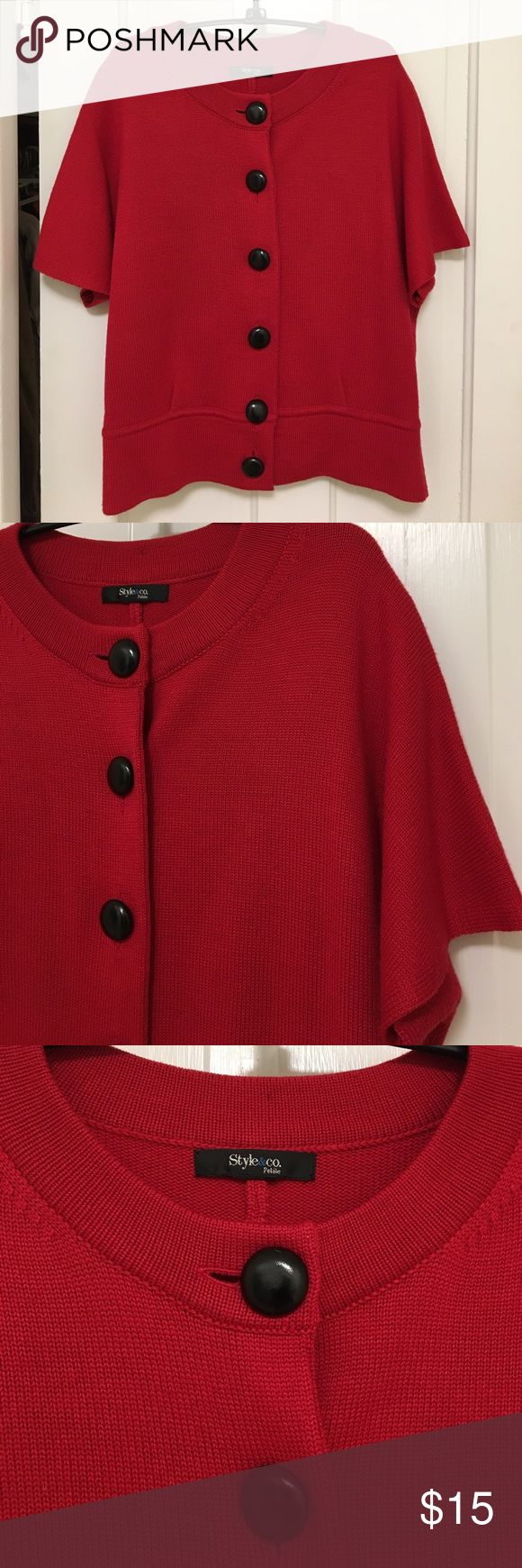 Style & Co Petite Cardigan Red Cardigan, short sleeves, large black buttons, knit. Style & Co Sweaters Cardigans