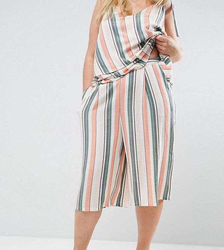 ASOS CURVE Culotte In Washed Stripe CO-ORD - Multi