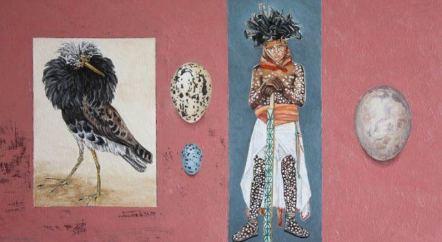 Lessons in Ornithology and related disguises - oil on wood panel 250x 450mm by DP Ferreira