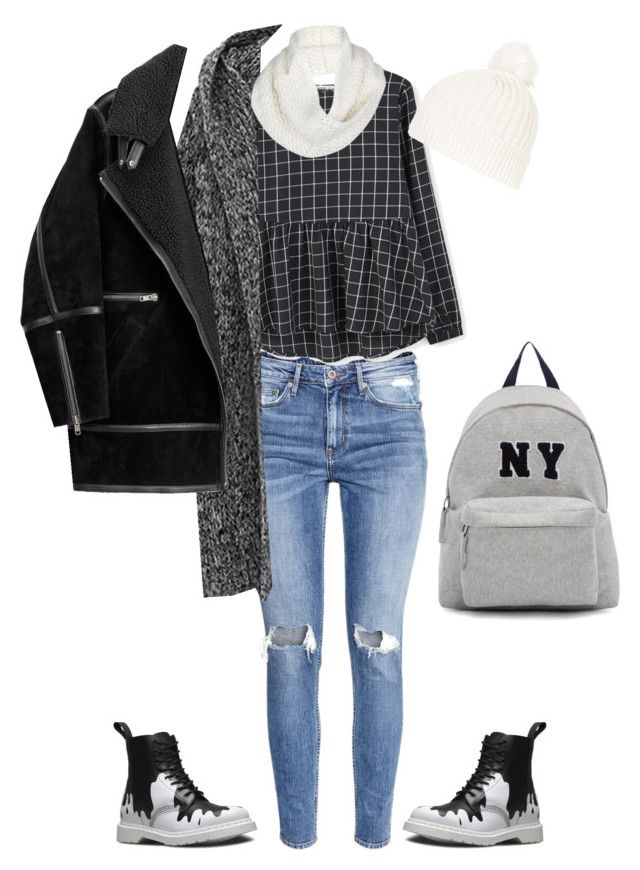 """Winter grey"" by valeria-verde on Polyvore featuring H&M, Dr. Martens, MANGO, Topshop, UGG Australia, Joshua's, women's clothing, women's fashion, women and female"