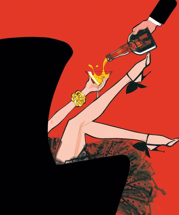 Another illustration by Jordi Labanda, with red and tulle and heels and a good way to *not* drink a non-martini. :p