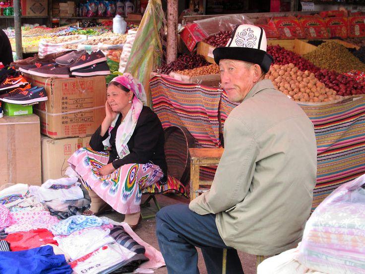 Merchants await a sale at the Grand Bazaar in Kashgar, Xinjiang, China.