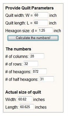 hexagon calculator  http://www.cddesigns.com/PaperPiecing/number.html