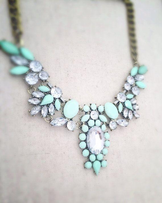 Mint green statement necklace mint green by OCEANBELLAHAWAII