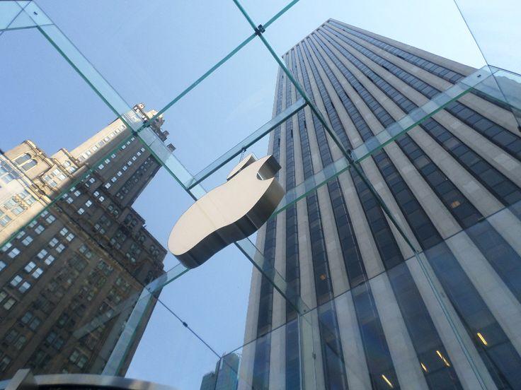Inside of Apple store, New York, USA