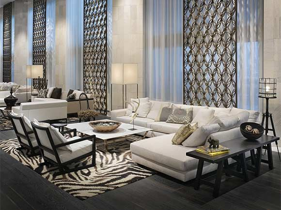Crisp white living room, black and white rug.... W Hotel Lobby Miami
