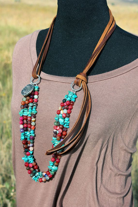 Leather and Rainbow Agate Southwestern Statement Necklace, Turquoise Chip Beads…