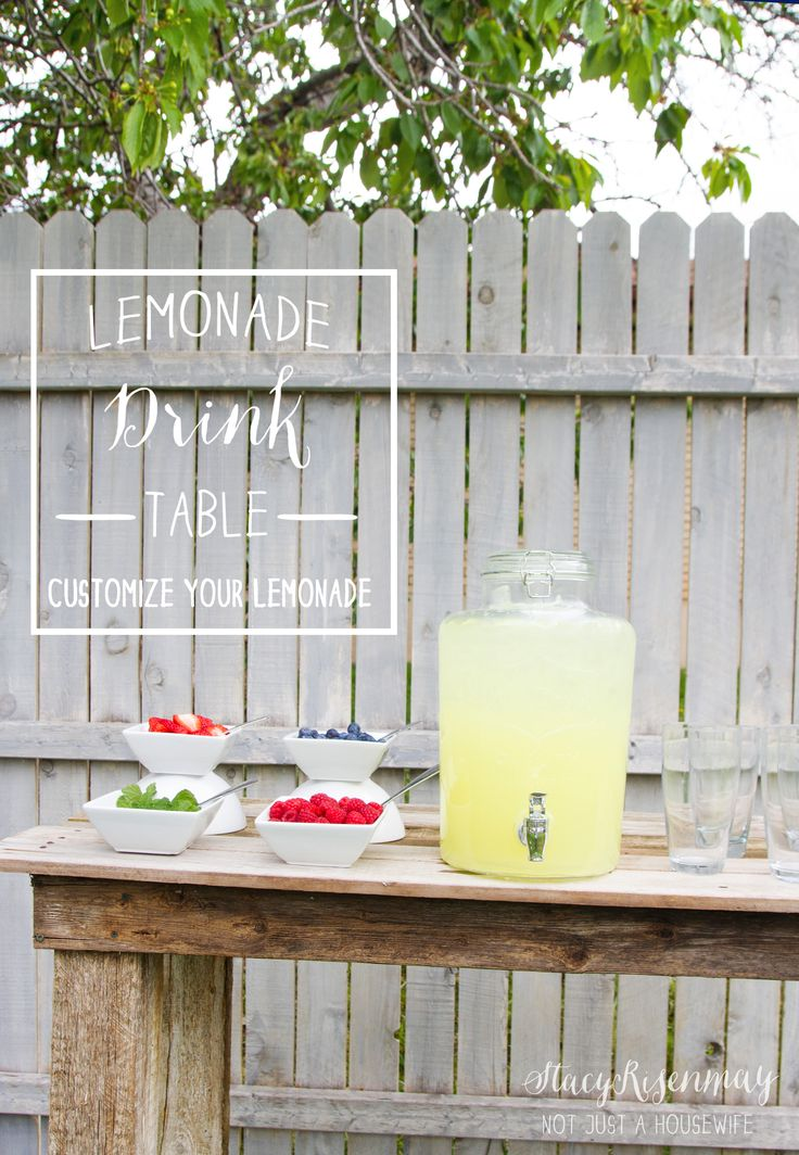 This is such a good idea! Set up a lemonade drink table and let your guests choose what they want to put in it!