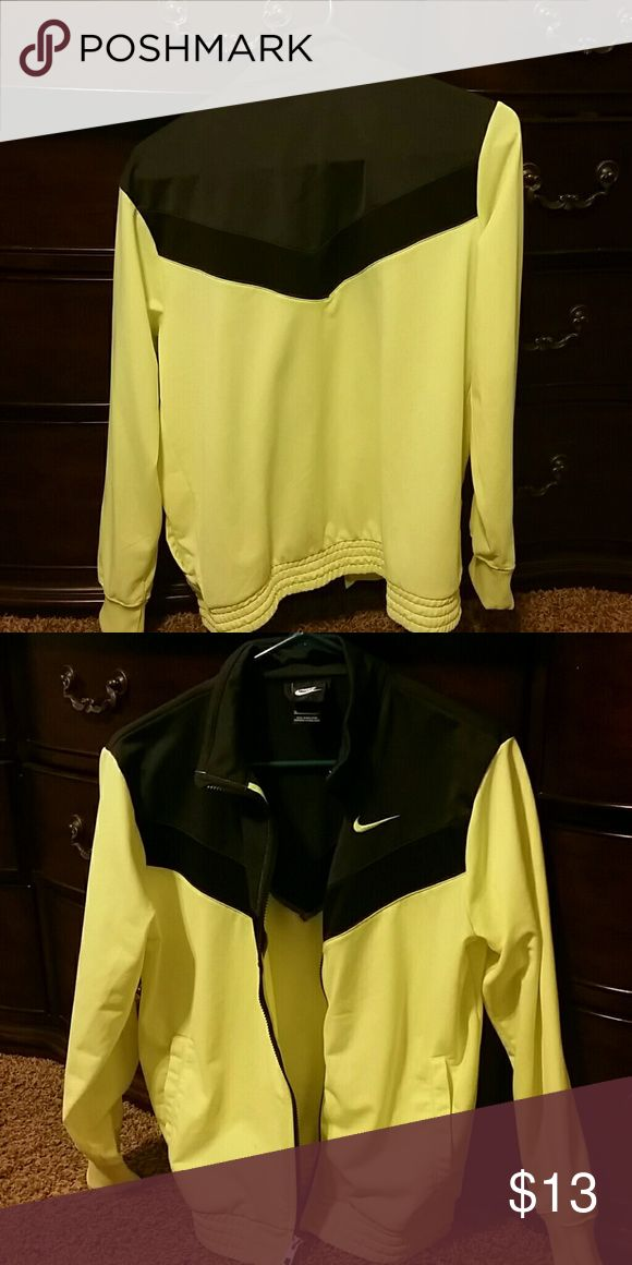 Nike running jacket YXL Neon yellow and black in perfect condition, zipper works, no holes or pulls in the material Nike Jackets & Coats