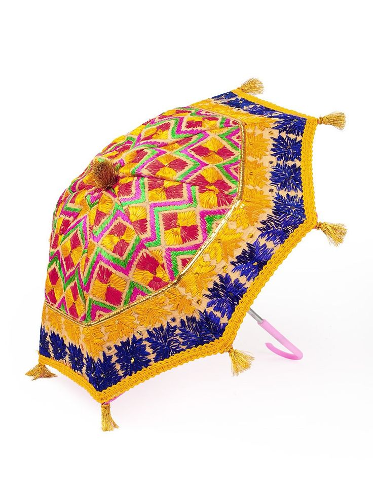 Buy Multi Color Cotton Zari Tassles Phulkari Umbrella Online at Jaypore.com