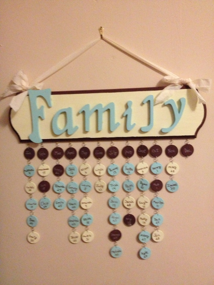 Birthday calendar - the supplies are available at a craft store: wooden plaque, wooden circles, wooden letters, jump rings, eyelet screws, acrylic paint, wood glue, and ribbon...*Stolen from another pin (though my colors are much better!)*
