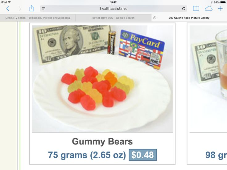 75 grams of gummy bears is equivalent to 300 calories-which is all the Russians got per day in Stalingrad and Leningrad