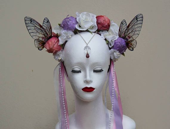 Pastel Lilac and Pink Bridal Flower Fairy Headdress - Fairy Wing - Spring Flower Crown - Romantic Flower Fairy Cosplay