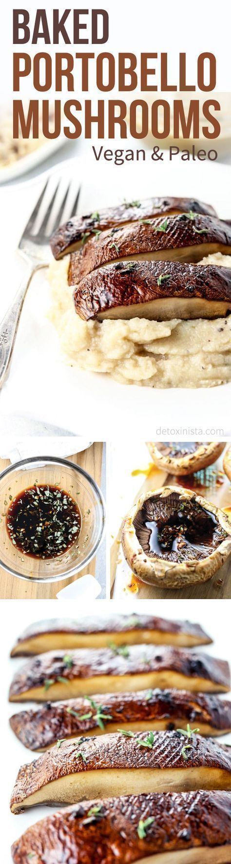 """Baked Portobello Mushrooms make a healthy vegetarian or vegan meat substitute. Serve them as a """"steak"""" over mashed potatoes with gravy for a holiday meal, or even as a burger with your favorite toppings! Gluten-free, Dairy-free, and Oil-Free, without using processed soy substitutes. #vegetariandinnerrecipesvegan"""