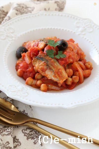 塩さばを使って洋風のトマト煮込みに。  食物繊維たっぷりのひよこ豆がたっぷり入っているので、お腹もすっきり♪