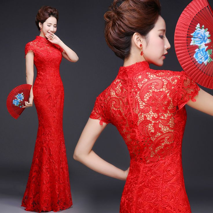 Red lace mermaid party dress Chinese bridal wedding cheongsam | Modern Qipao