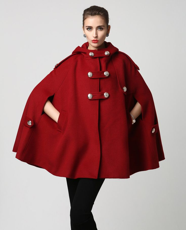 Wine Red Wool Cape - Warm Winter Cape - Hooded Cape -Womens Outerwear - Coat (1130) by xiaolizi on Etsy