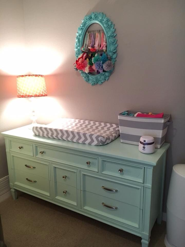 Thrift store dresser painted with mint chalk paint for changing table