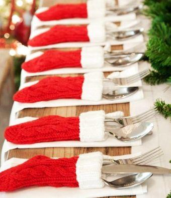 2014 Christmas cutlery decor, Christmas Table Decor Ideas Sock Cutlery Holders, knives and forks holder for Christmas Dinner