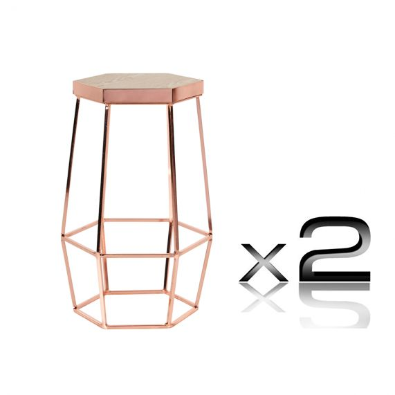 Hex Oak And Electroplated Steel Hexagonal Counter Stool 65cm In Metalli Copper Au