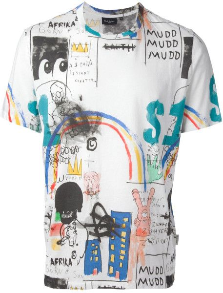 This t-shirt is amazing because of the drawings and how they over lap each other, i also like how some drawings have color and some don't.
