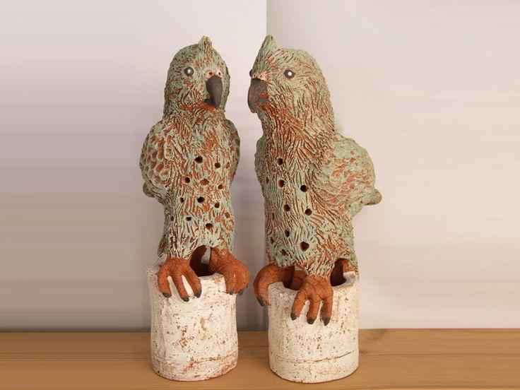 Kea Candlesticks 2012 - hand-built terracotta with slip
