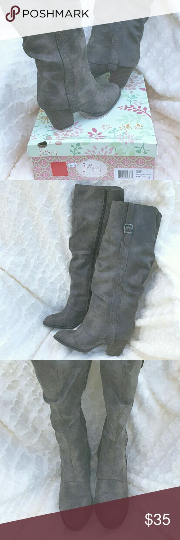 🌻SALE🌻  Jellypop Knee High Boots New in box- Roslyn Jellypop boot. Color is stated to be Taupe distressed but in my opinion it's more in the gray family, size 8.5 M synthetic, faux leather. Slightly distressed style, contrast stitching at the side with a buckle accent, side zipper, slouchy boot design and 3 in faux stacked heel. Any reasonable offer will be considered 😊 jellypop Shoes Heeled Boots