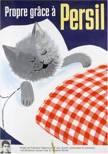 """Persil vintage advertising poster by François Tapernoux (1945) [Projet de François Tapernoux, 17 ans, Zurich, primé pour le concours """" La jeunesse suisse crée la réclame Persil""""]"""