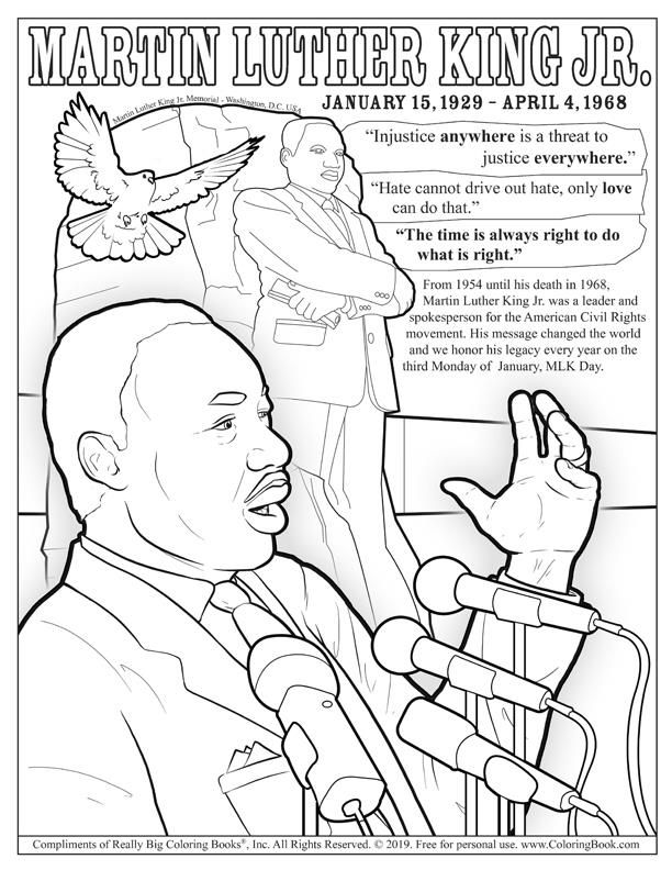 Coloringbook Com Is Owned By Really Big Coloring Books Inc In 2020 Martin Luther King Activities Online Coloring Pages Coloring Books