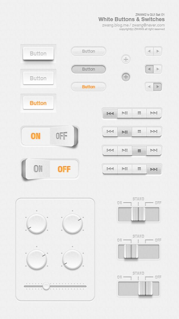 freebie//White Buttons & Switches GUI / Zwang Kim