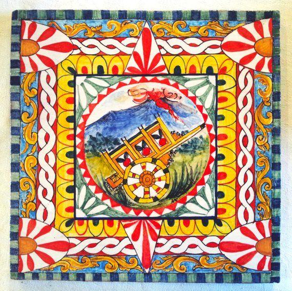 Decorazioni Carretto Siciliano.Carro Siciliano Sobre Azulejos Ceramicos Con Decoraciones