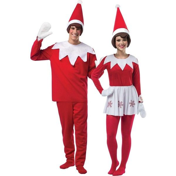 Adult Elf on The Shelf Couples Costume ($100) ❤ liked on Polyvore featuring costumes, halloween costumes, adult couple costumes, red costumes, santa elf costume, couples costumes and christmas party costumes
