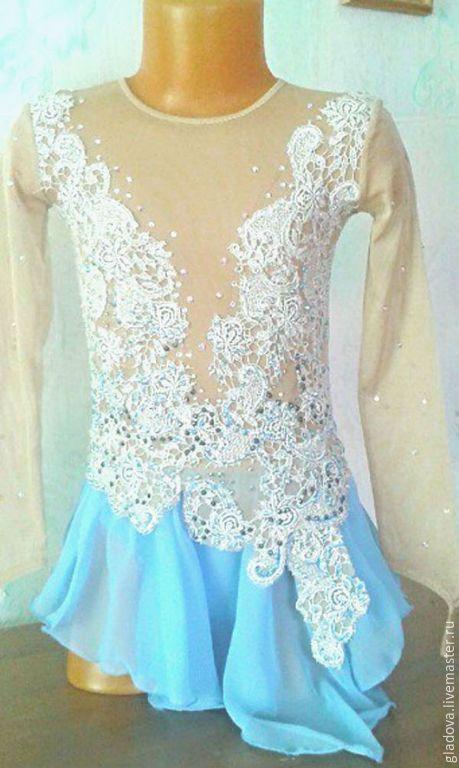 Купить Платье для выступления - бирюзовый, платье для девочки, лед, спорт, фигурное катание, купить платье