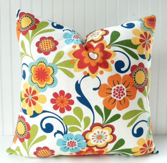 floral pillow cover throw pillow decorative pillow red blue green orange yellow floral toss pillow accent pillow 18x18 inches