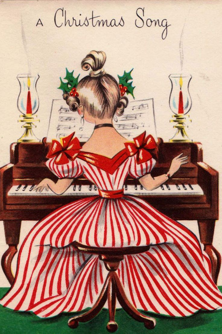 194 best vintage christmas cards images on pinterest vintage a christmas song greetings card how i wish i could play the piano m4hsunfo