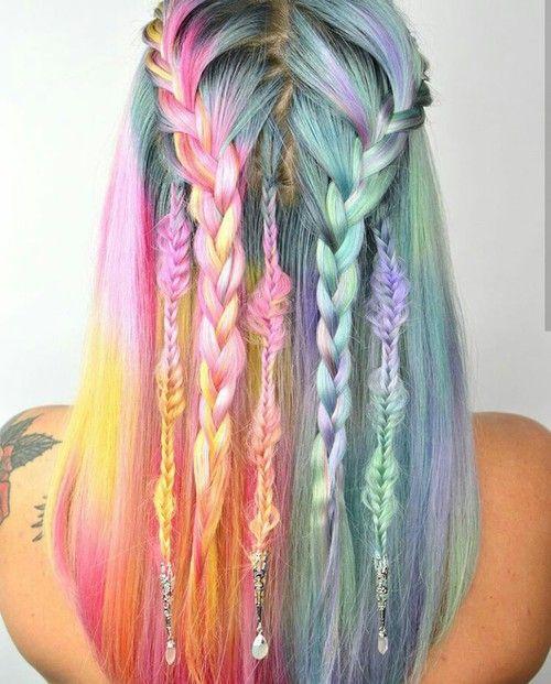 Rainbow pastel hair braids with accessories