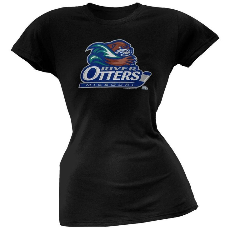 Missouri River Otters Logo Babydoll Black Junior T-Shirt