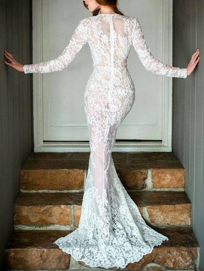 Plunging Neck Prom Long Sleeve Lace Dress WHITE: Maxi Dresses | ZAFUL