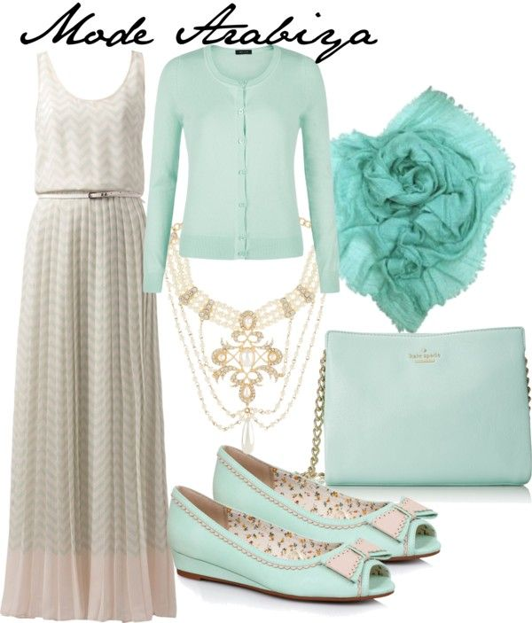 White dress, mint cardigan, mint shoes, turquoise scarf, Peale and gold necklace