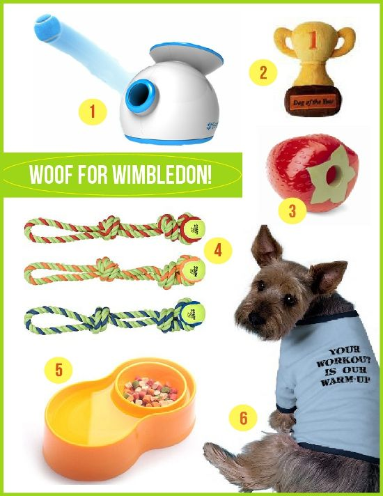 Wimbledon dog products, including the coolest automatic ball launcher for dogs EVER!