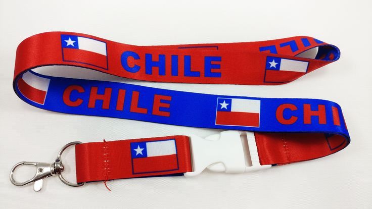 Chile flag reversible blue/red lanyard